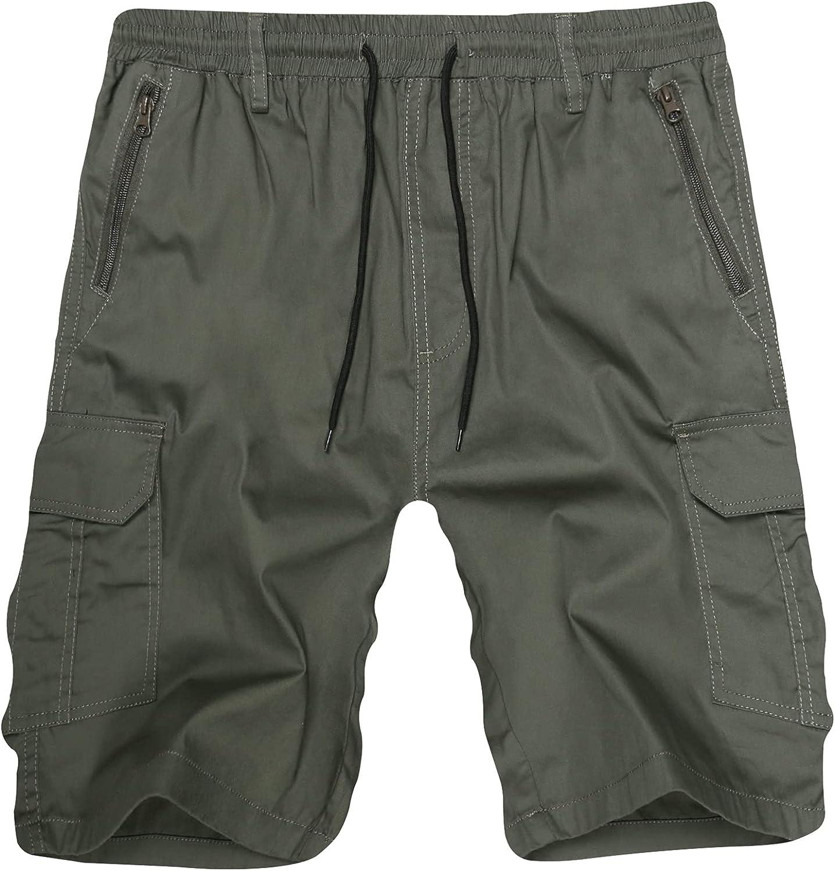 APTRO Men's Cargo Shorts Relaxed Fit Drawstring Casual Cotton Shorts