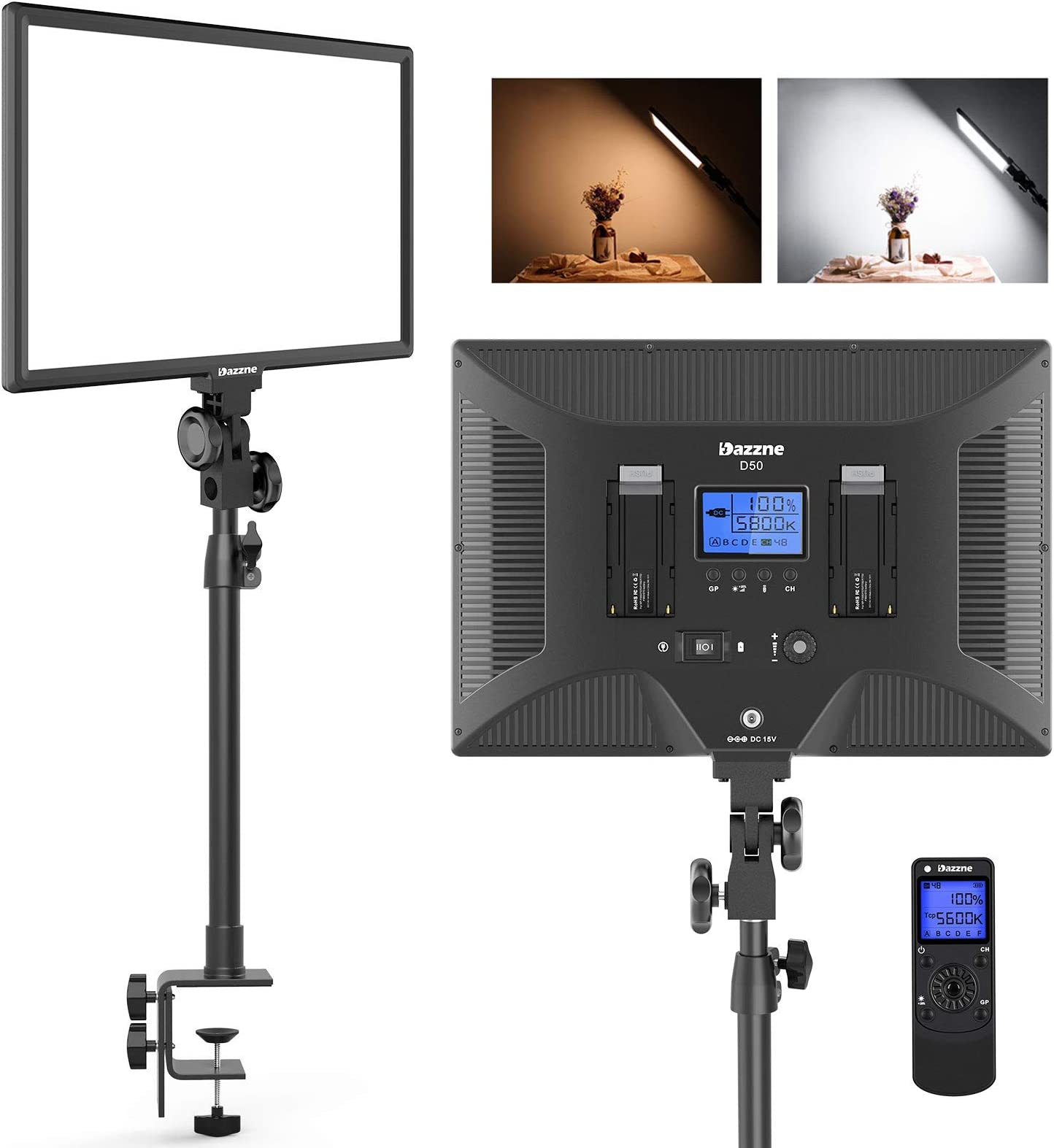 Dazzne D50 Desk Mount Video Light with C-Clamp, LED Studio Photography Light with Wireless Remote, 15.4 Inches 45W 3000K-8000K 3600LM Dimmable 0-100% for Video Conference Tiktok Live/Game Streaming