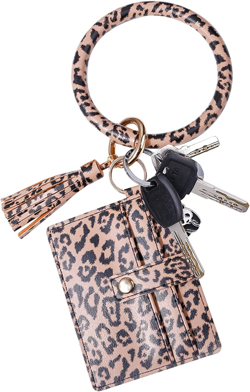 Keyring Bracelets, PU Leather Keychain Bangle with Tassel Card Holder for Girls