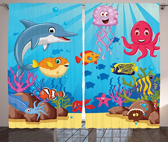 108 X 63 Inches Ambesonne Kids Decor Collection Multi Window Treatments for Kids Curtain 2 Panels Set Zoo Animals with Letters of the Alphabet Educational Classroom Playroom Decors Reading Writing