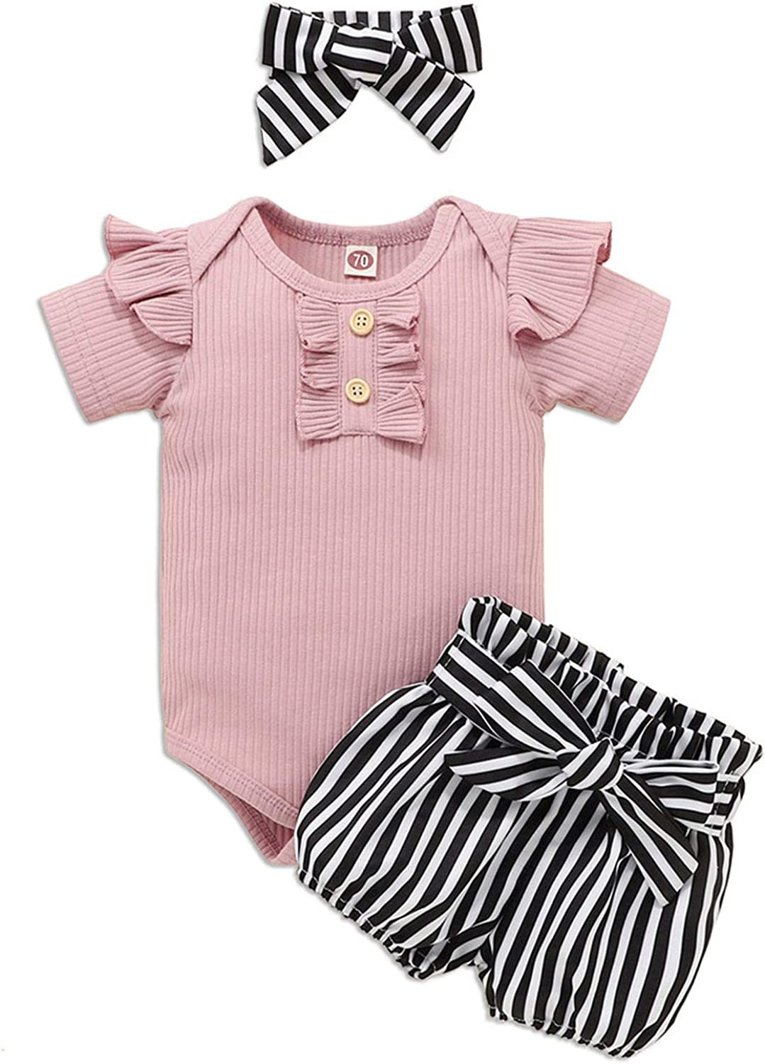 Newborn Infant Baby Girl Clothes Ruffle Letter Romper Tops Floral Shorts Cute Baby Girl Clothes Outfit Set