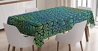 "Ambesonne Abstract Tablecloth, Alligator Skin Animal Crocodile Reptile Safari Wildlife Vibrant Artwork, Dining Room Kitchen Rectangular Table Cover, 60"" X 84"", Green Blue"