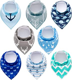 PandaEar Baby Bandana Drool Bibs 8 Pack for Drooling and Teething, Super Absorbent Hypoallergenic, Neutral Color for Boys ...