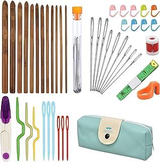 NATUCE Ensemble de 44Pcs Aiguilles à Croche en Bambou, 4 Aiguilles Ergonomiques à Tricoter, Accessoires à Tricoter, Croche...