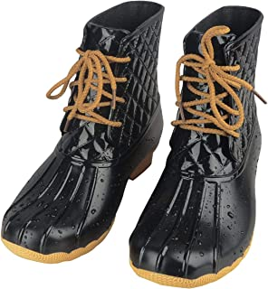 Duck Boots for Women Comfortable Insulated Rain Boots Waterproof Outdoor Anti Slip Shoes with Shoelace