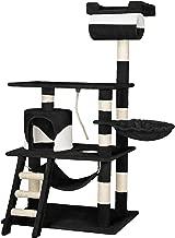 TecTake Arbre à chat griffoir grattoir geant | avec hamac et tunnel | hauteur 141 cm - diverses couleurs au choix - (Noir Blanc | No. 402278)