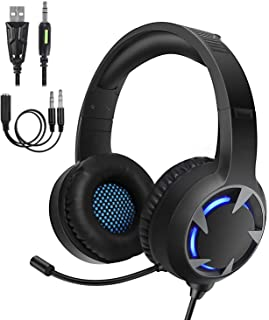 Turnraise Stereo Gaming Headset for PS4,PC,Xbox One Controller,Over-Ear Headphones with Noise Cancelling Soft Memory Ear P...