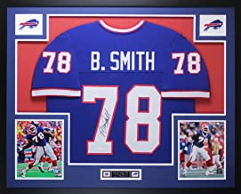 Bruce Smith Autographed Blue Buffalo Bills Jersey - Beautifully Matted and Framed - Hand Signed By Bruce Smith and Certified Authentic by JSA - Includes Certificate of Authenticity