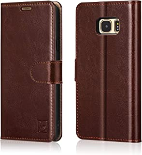 Belemay Samsung Galaxy S7 Case, Genuine Cowhide Leather Wallet Case, Flip Folio Book Cover Magnetic Closure, Kickstand Function, Card Holder Slots, Cash Pockets Compatible Samsung Galaxy S7, Brown