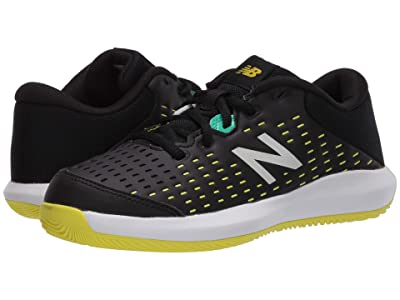 New Balance Kids KC696v4 Tennis (Little Kid/Big Kid) (Black/Sulphur Yellow) Kids Shoes