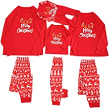 Sharemen Women Suit Christmas Pattern O-Neck Top Long-Sleeved Home wear Clothes with Elastic Waist Cartoon Red Trousers