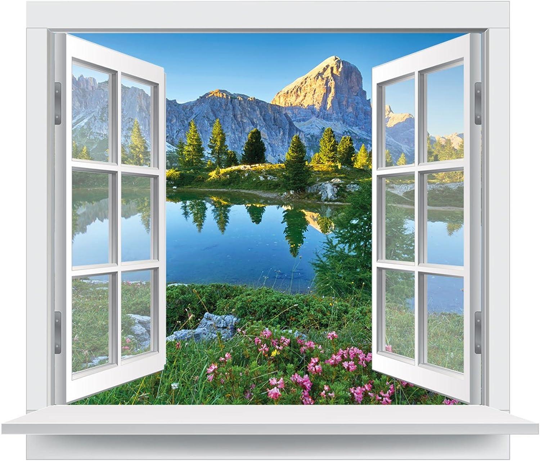 Premiumdesign Wandtattoo offenes Fenster italienische Dolomiten Ausblick Bergsee in in in Originalgröße 120 x 102cm farbig  141 B01MPWYJ4L 5745c2