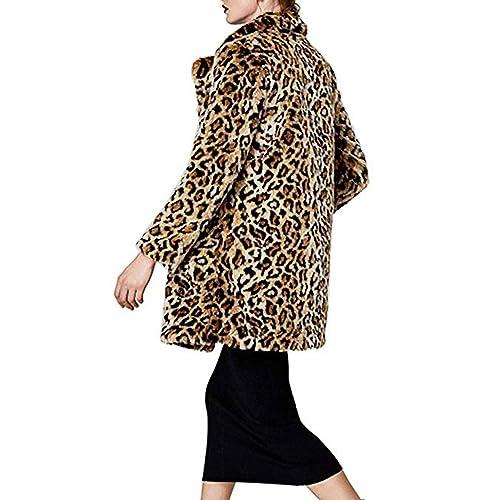 a6721c5337bb Shilanmei Women Warm Long Sleeve Parka Faux Fur Coat Overcoat Fluffy Top Jacket  Leopard