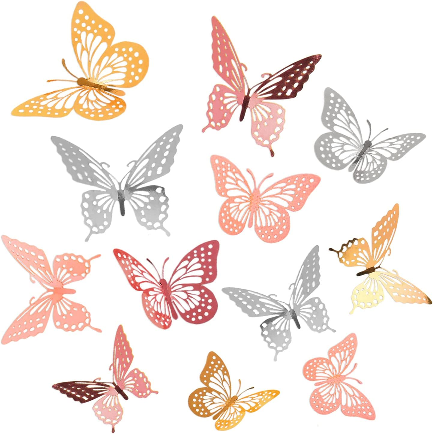 Homiton 96 Pcs 3D Butterfly Wall Stickers with 3 Sizes & 2 Styles, Removable Metallic Butterfly Wall Decals for Home Living Room Girls Bedroom Nursery Classroom Party Decorations (96, Gold, Rose Gold, Pink, Silver)