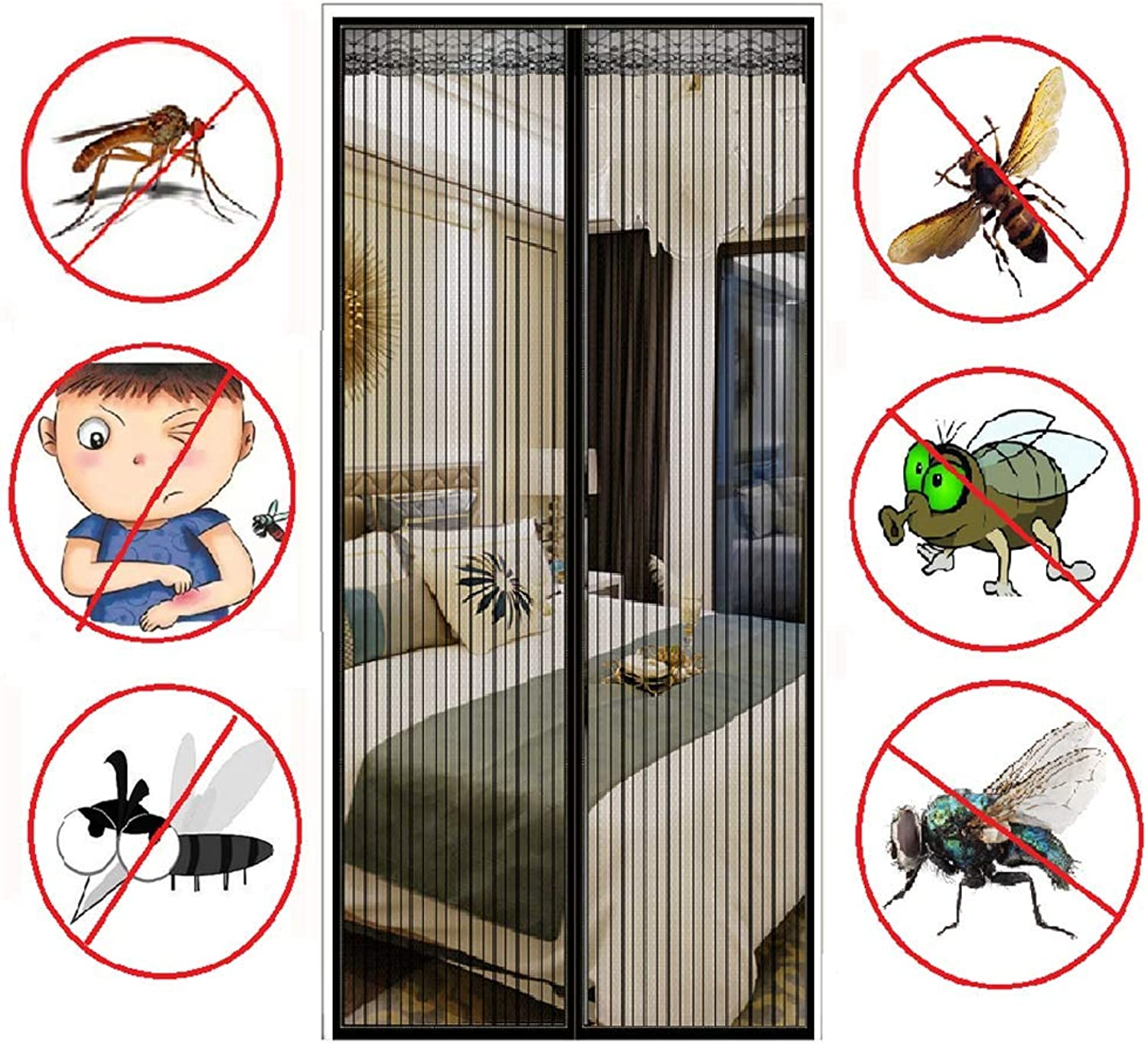 Magnetic Fly Insect Screen Door Screen Mesh Curtain,Black,110  220cm