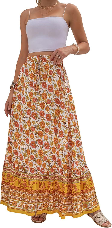 Women's Casual Long Skirt Flower Printing Summer Dress High-Waist Single-Breasted Split A-line Skirt.