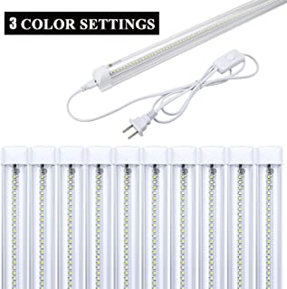 LED T8 Strip Light Fixture, Upgraded 3 Color Modes 4FT 20W Under Cabinet and Ceiling Lighting, Linkable Utility Shop Lights with ON/OFF Switch (Daylight,Warm,Natural White) - 10-Pack
