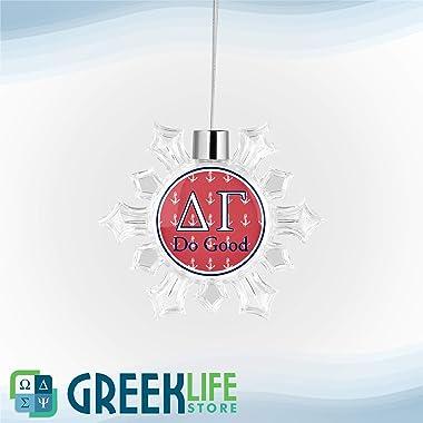 greeklife.store Delta Gamma Snowflake Round Ornament Christmas Decor