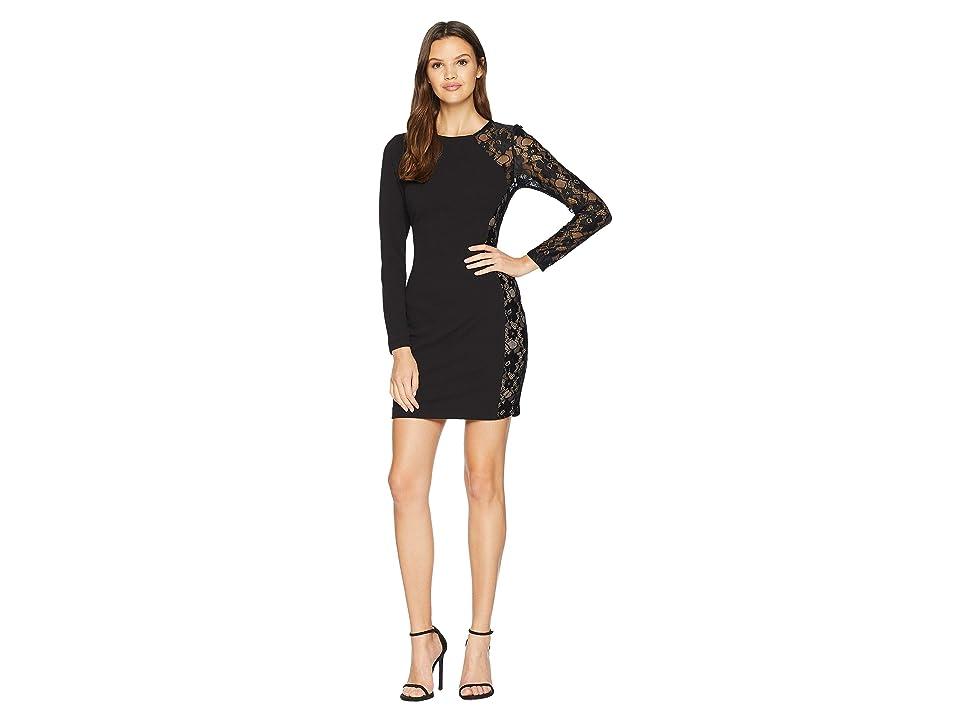 Bebe Lace Inset Dress (Black) Women