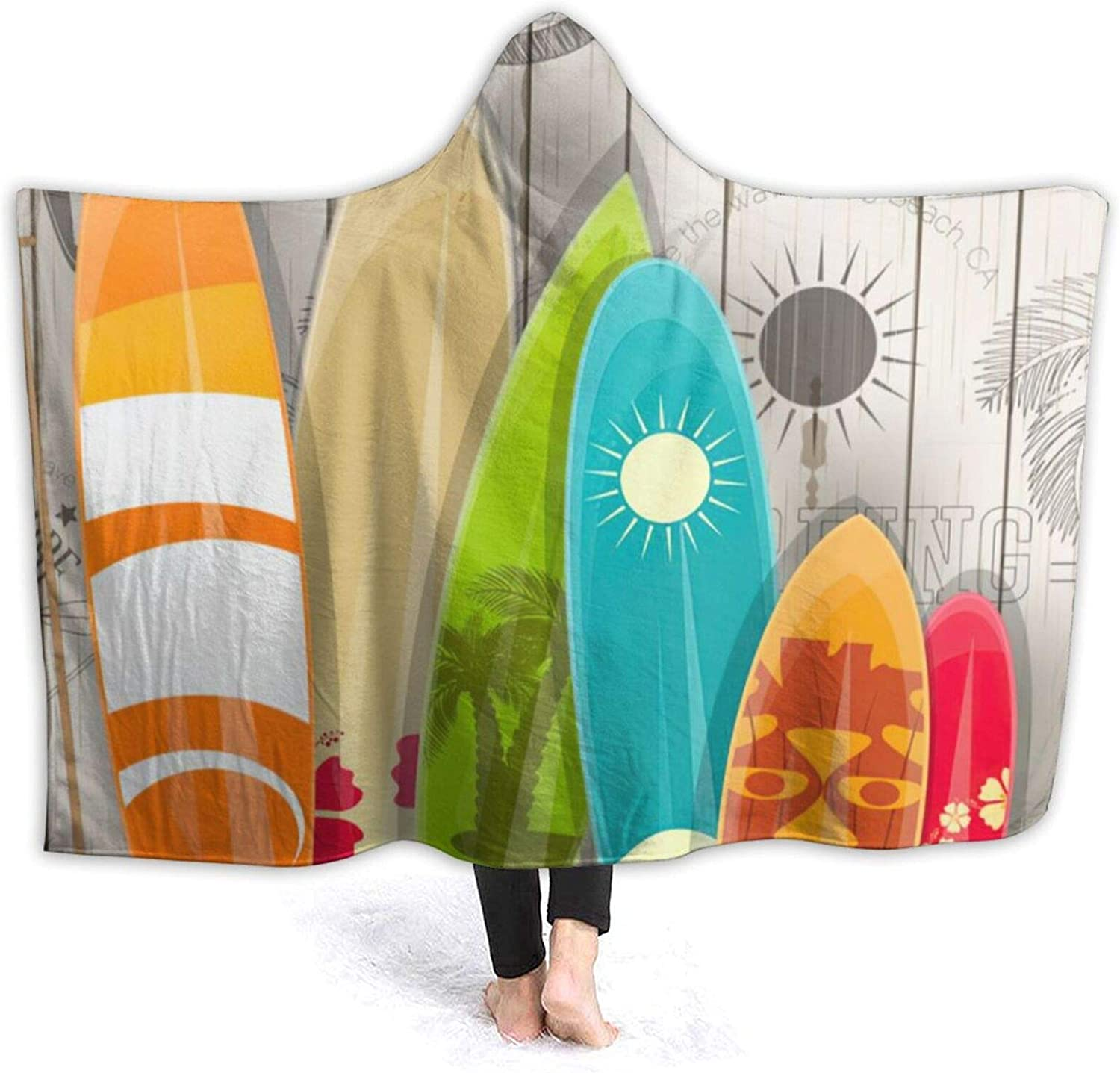 Retro Colorful Surfboard Sale Hooded Blanket Air Over item handling ☆ Conditioning