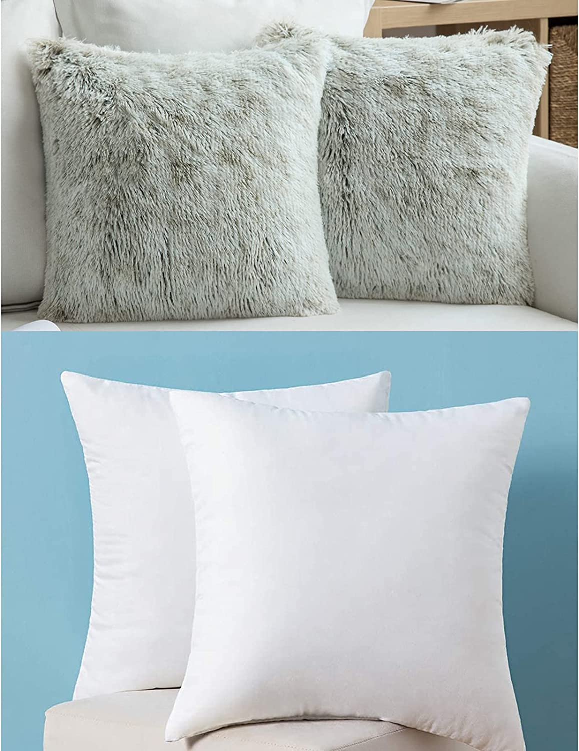 MIULEE Very popular Set 1 year warranty of 2 Throw and Plush Pack Inserts Pillow