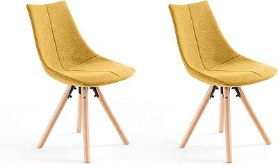 Loungitude - Lot de 2 chaises tissu pieds hêtre naturels - Jaune