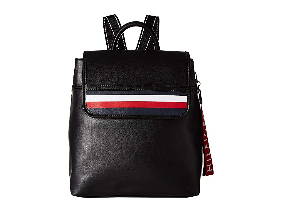 Tommy Hilfiger Gianna Smooth PVC Backpack (Black) Backpack Bags