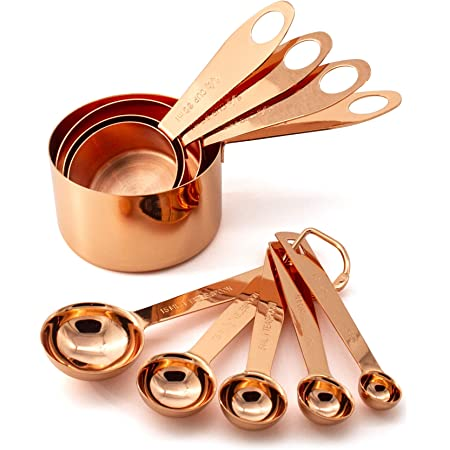 9 Piece Copper Stainless Steel Measuring Cups and Spoons Set with Engraved Measurements & Mirror Polished for Dry, Liquid Ingredients, Cooking & Baking