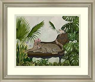 Framed Wall Art Print Leopard Chaise Longue by Fab Funky 17.75 x 15.38