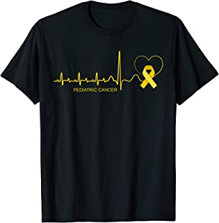 Pediatric Cancer Awareness Shirt Gold Ribbon Heartbeat Gift T-Shirt