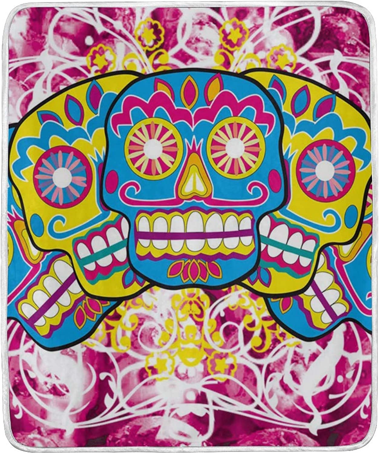 HELVOON Dia De Los Muertos Sugar Skull Throw Blanket Soft Warm Lightweight Blankets for Bed Couch Sofa Travelling Camping 60 x 50 Inch