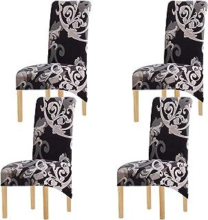KELUINA Tela de impresión Estiramiento XL Fundas para sillas de comedor,2/4/6 piezas Funda elástica para silla grande para Decoración de fiesta de banquete de boda (Multi,4 Pack)