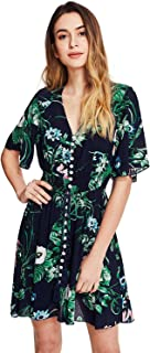 Milumia Women's Boho Button Up Split Floral Print Flowy...