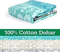 Divine Casa 100% Cotton Reversible Youth Blanket/Duvet Easyweight, AC Single DOHAR, Floral- Grey