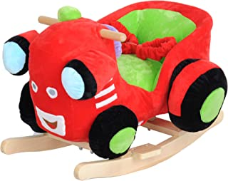 Dporticus Child Rocking Horse Plush Train Rocker Toy with Wheels and Seat Belt Wooden Rocking Horse/Kid Rocking Toy/Baby Rocking Horse/Rocker/Animal Ride On
