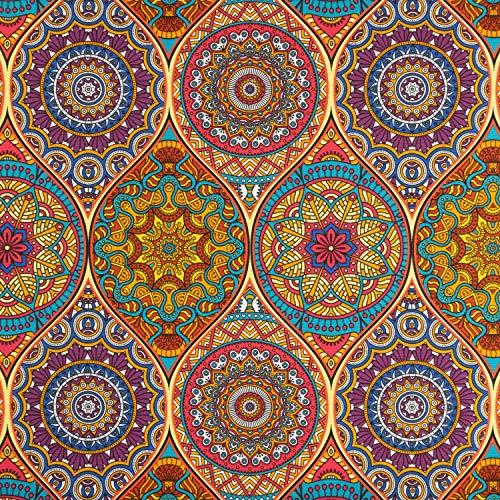 Dekostoff Mandala bunt Canvasstoffe Dekorationen Ornamente - Preis gilt für 0,5 Meter