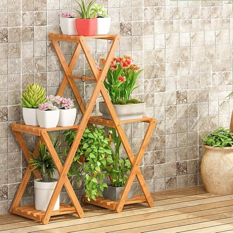 WAN SAN QIAN- Bamboo Flower Stand Floor Type Folding Plant Display Shelf Home Multi-Layer Pot Rack Flower racks (Size   70  28  90cm)