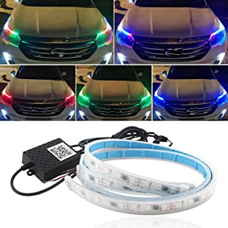 Led Light Strips for Cars, 24Inch Car Headlight Led Strip Sequential Switchback Led Strip RGB Multi Color for Turn Signal ...