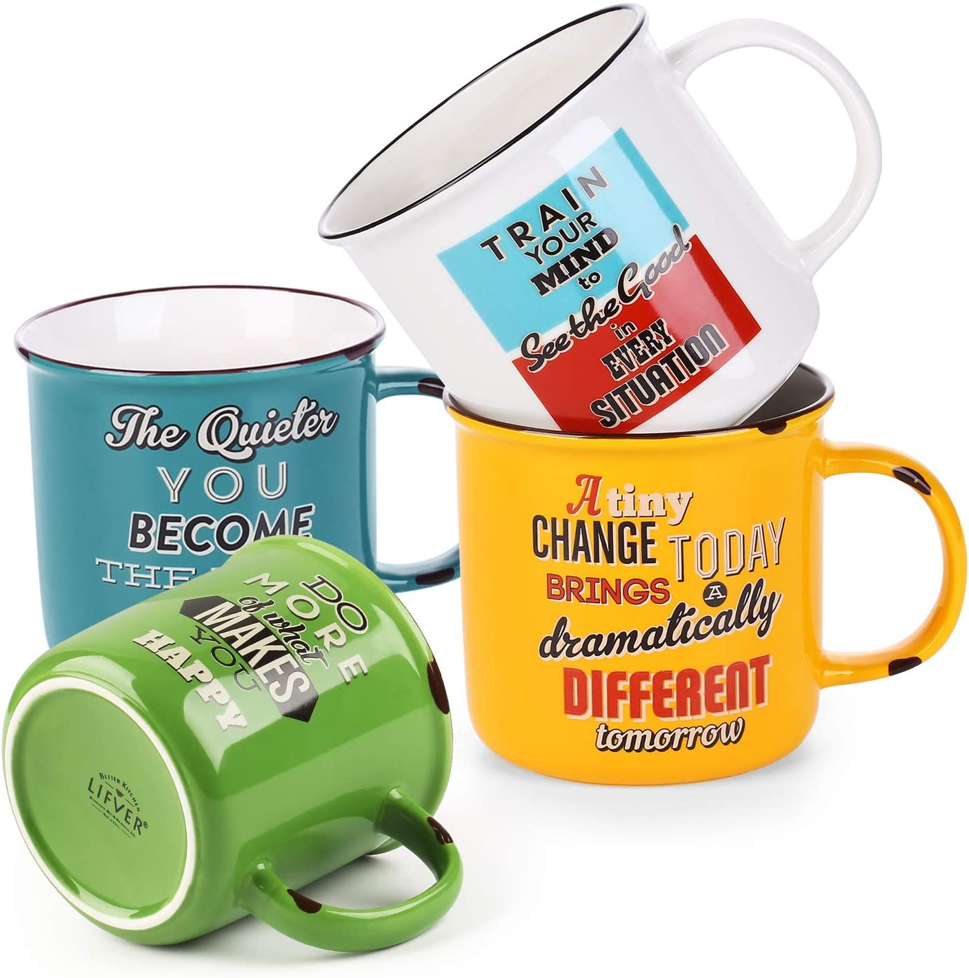 LIFVER 18 oz Coffee Mugs Set Porcelain Large for Max 69% OFF Coff of 4 Japan Maker New