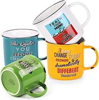 LIFVER 18 Ounces Coffee Mugs, Large Porcelain Cups for Coffee, Tea, Cocoa, Retro Style Mug Sets, Housewarming Gift, Set of 4, Multi Colors