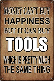 Funny Mechanic Shop Metal Tin Sign Wall Decor Man Cave Bar Money Happiness Tools - Decorative Metal Poster Tin Signs Gift ...