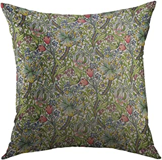 Mugod Decorative Throw Pillow Cover for Couch Sofa,Green Vintage William Morris Lily Floral Chintz Nouveau Home Decor Pillow case 18x18 Inch