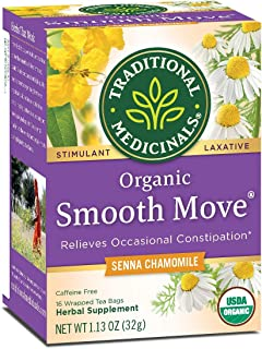 Traditional Medicinals Organic Smooth Move Chamomile Laxative Tea, 16 Tea Bags (Pack of 3)