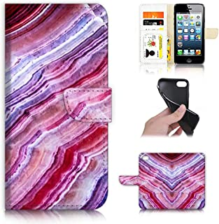 for iPhone 5, iPhone 5S, iPhone SE, Designed Flip Wallet Phone Case Cover, A22001 Crystal Marble