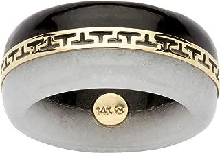 14K Yellow Gold Round Genuine Black and White Jade Greek Key Ring