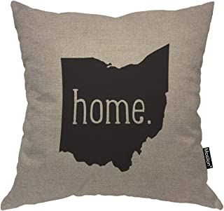 Moslion Throw Pillow Cover Home 18×18 Inch Ohio State Lettering Symbol Gray Black..