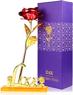 """24K Eternal Golden Plated Rose with """"Love"""" Stand in Gift Box (red)"""