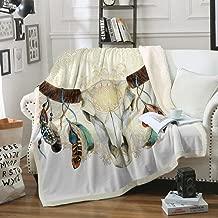 Sleepwish Tribal Blanket Cow Skull Horns Feathers Decorative Fleece Throw Blanket Rustic Floral Gold Mandala Sherpa Bed Blanket (Throw 50