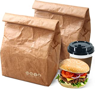 LINXIN Tyvek Insulated Lunch Bag pack of 2 for Women Men Kids Brown Paper Food Box Reusable Freezable Hot Lunch Bags (6L)