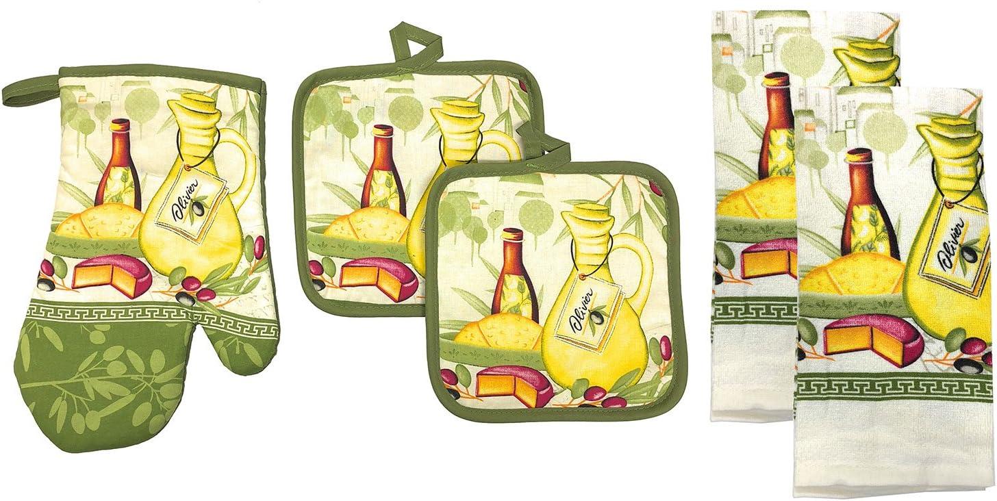 K/üche Collection 5tlg K/üche Set 2/Topflappen und 2/K/üche Handt/ücher Set 1/Ofenhandschuh ideal f/ür die Kombination von Spa/ß und Farbe in die K/üche Olive Feast Value Pack perfekt f/ür Geschenk